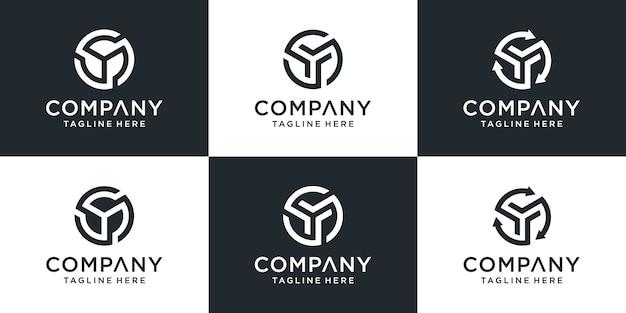 Ensemble d'inspiration de conception de logo créatif monogramme lettre y