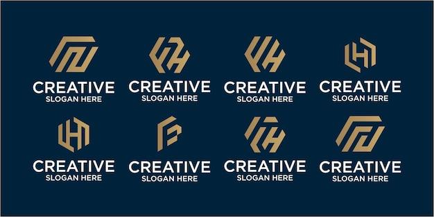 Ensemble d'inspiration de conception de logo de lettre fh. création de logo fh, création de logo h, création de logo f
