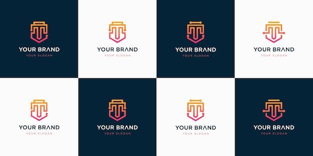 Ensemble d'inspiration de conception de logo lettre t créative.