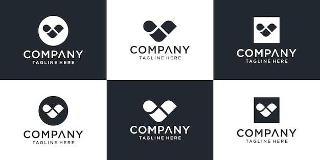 Ensemble d'inspiration de conception de logo lettre v abstraite créative