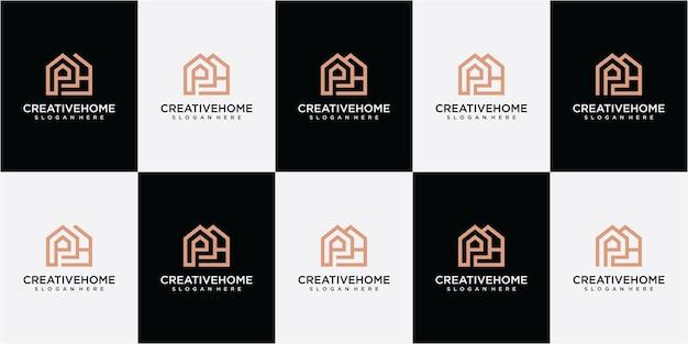 Ensemble d'inspiration de conception de logo de maison de lettre ph. création de logo ph. création de logo pour la ligne d'accueil