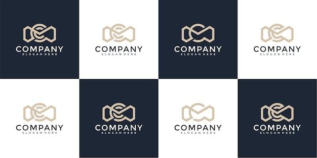Ensemble d'inspiration créative de conception abstraite de logo de mc de lettre de monogramme