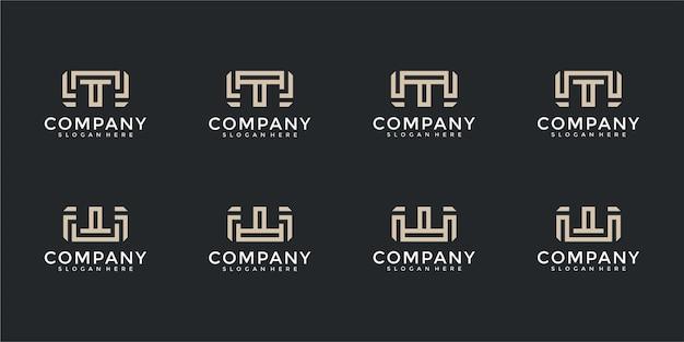 Ensemble d'inspiration créative de conception de logo de lettre de monogramme mw