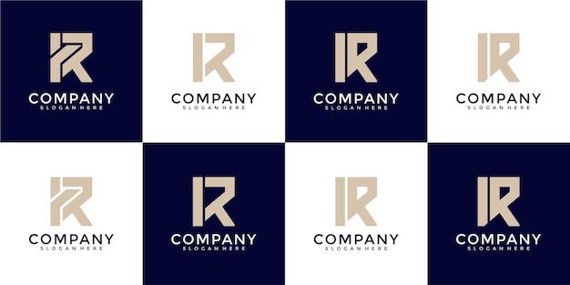 Ensemble d'inspiration créative de conception de logo de lettre r de monogramme