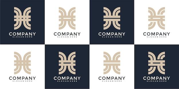 Ensemble d'inspiration créative de conception de logo monogramme abstrait lettre h