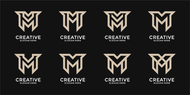 Ensemble d'inspiration créative de conception de logo monogramme lettre m