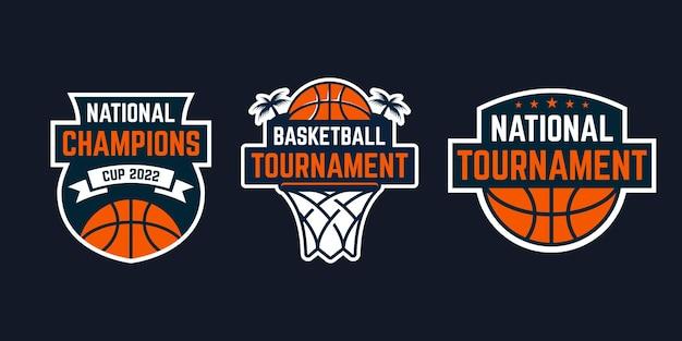 Ensemble d'inspiration de patch d'insigne d'emblème de sport de logo de basket-ball