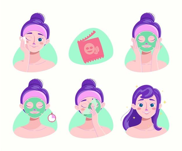 Ensemble d'instructions pour masque de beauté en feuille