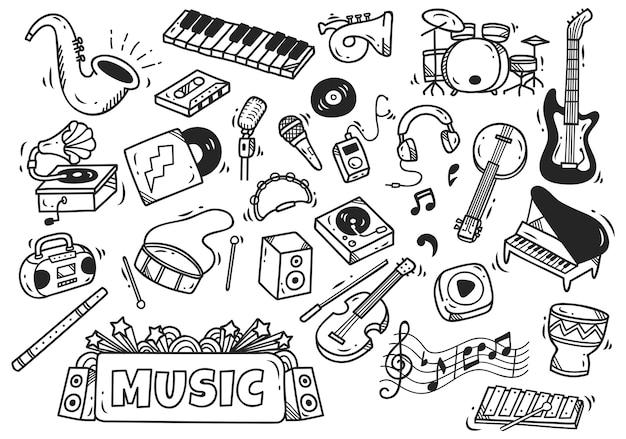 Ensemble d'instrument de musique dans le style de doodle