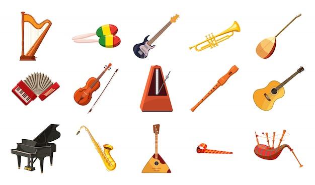 Ensemble d'instruments de musique. ensemble de bande dessinée d'instrument de musique