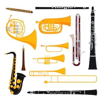 Ensemble d'instruments à vent musicaux