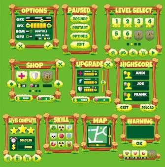 Ensemble d'interface de jeu avec boutons, statut et élément