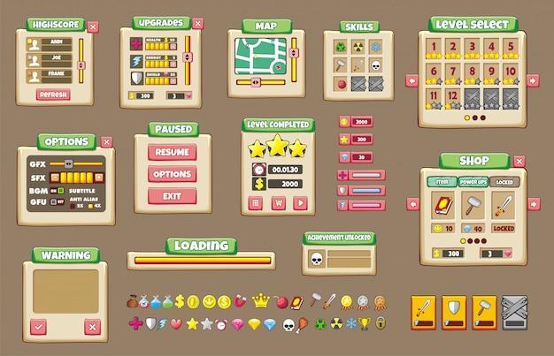 Ensemble d'interface de jeu avec des boutons