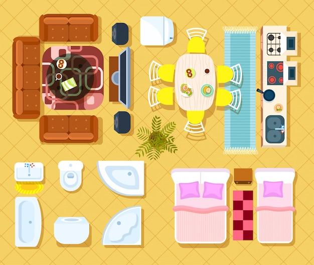 Ensemble intérieur appartement vue de dessus