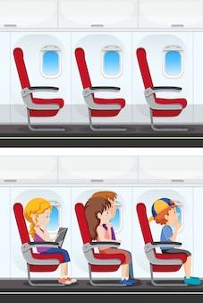 Ensemble de l'intérieur de l'avion