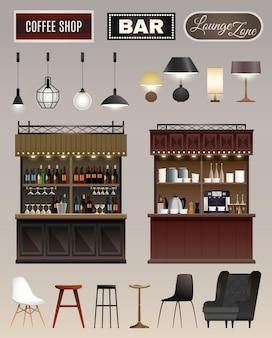 Ensemble intérieur de café bar