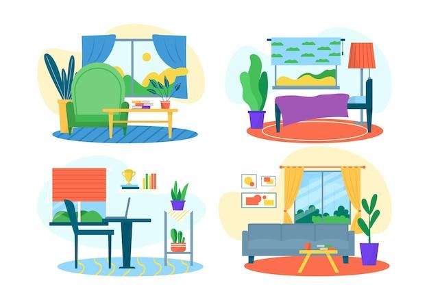Ensemble intérieur de chambre, isolé sur illustration vectorielle blanc. salon, chambre et bureau à domicile, décoration maison par canapé moderne, table