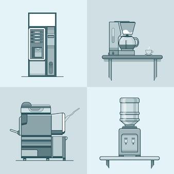 Ensemble intérieur intérieur de salle technique de cuisine de bureau