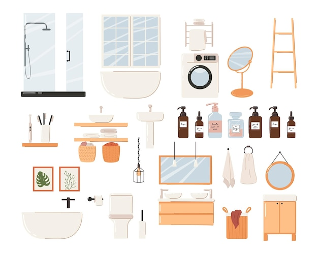 Ensemble d'intérieur de salle de bain scandinave élégant. baignoire, lavabo et toilettes scandinaves modernes.