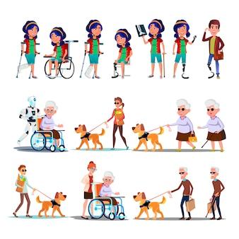Ensemble invalide de personne de caractère différent