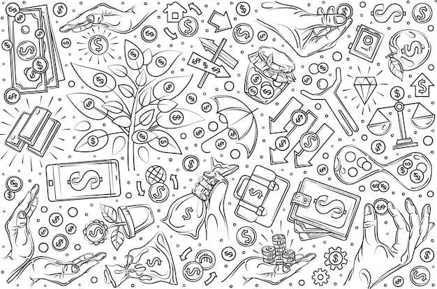 Ensemble d'investissement dessinés à la main doodle background