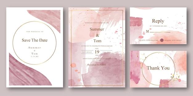 Ensemble d & # 39; invitation de mariage aquarelle abstraite