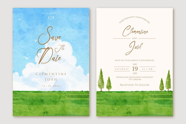 Ensemble d'invitation de mariage aquarelle ciel bleu gros nuage paysage fond