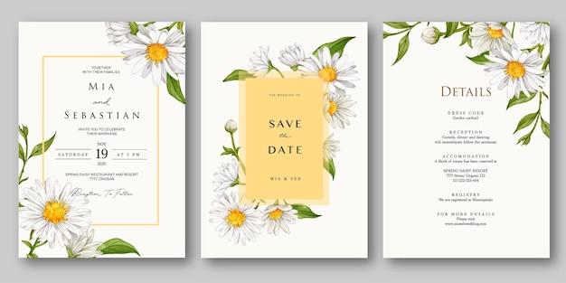 Ensemble d'invitation de mariage aquarelle fleur blanche de printemps