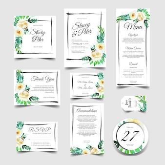 Ensemble d'invitation de mariage doux d'aquarelle floral blanc
