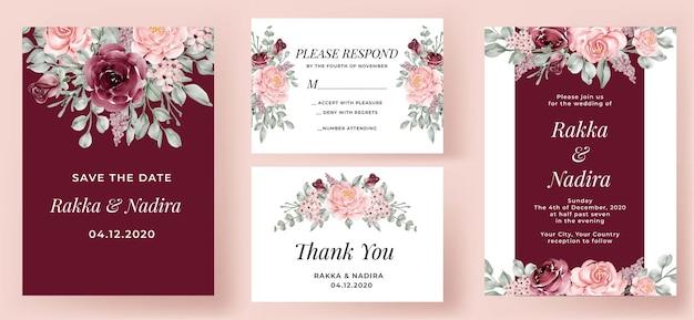 Ensemble d'invitation de mariage élégant bourgogne et rose rose