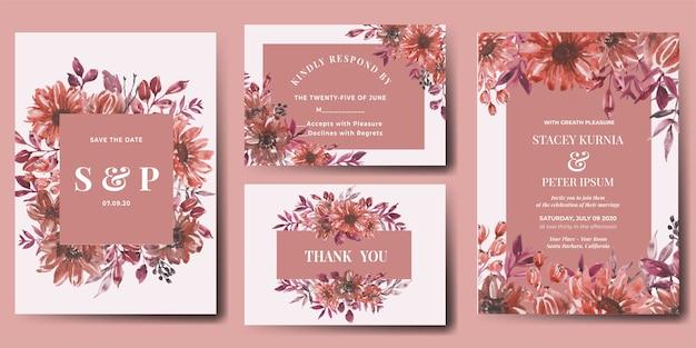 Ensemble d'invitation de mariage de fleur aquarelle automne automne