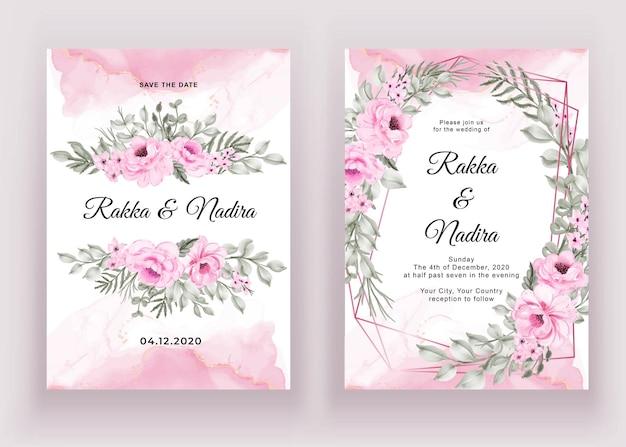 Ensemble d'invitation de mariage de fleur aquarelle rose et feuille