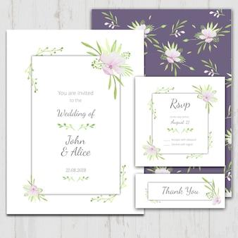 Ensemble d'invitation de mariage floral de printemps