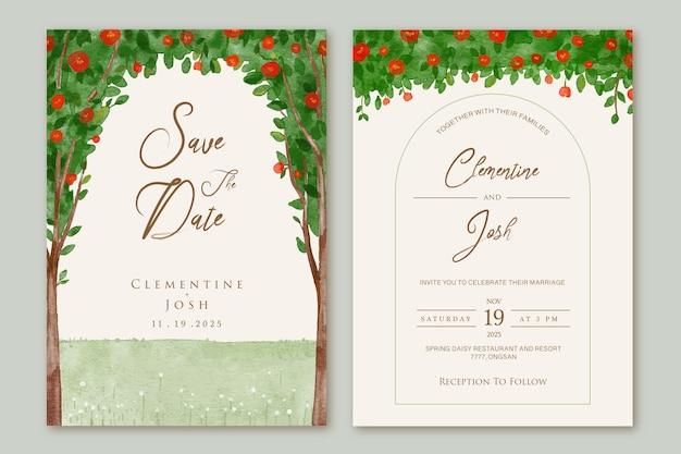 Ensemble d'invitation de mariage avec fond de fleur d'arbre de roses rouges de printemps aquarelle dessinés à la main