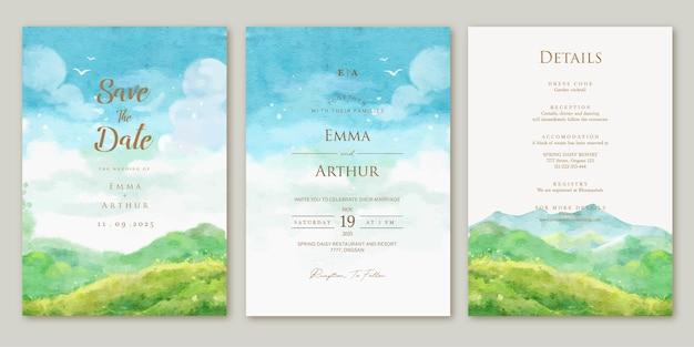 Ensemble d'invitation de mariage avec fond de montagne paysage aquarelle aquarelle