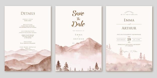 Ensemble d'invitation de mariage avec fond de paysage de montagne aquarelle