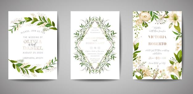 Ensemble d'invitation de mariage, invitation florale, merci, conception de carte rustique rsvp avec décoration en feuille d'or. modèle moderne élégant de vecteur sur fond blanc