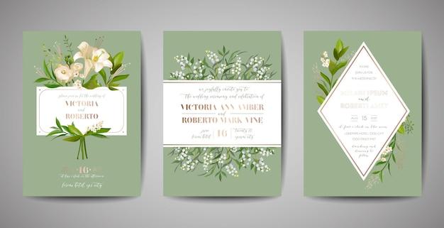 Ensemble d'invitation de mariage, invitation florale, merci, conception de carte rustique rsvp avec décoration en feuille d'or. modèle moderne élégant de vecteur sur fond noir