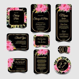 Ensemble d'invitation de mariage moderne d'aquarelle floral cadre rose et or