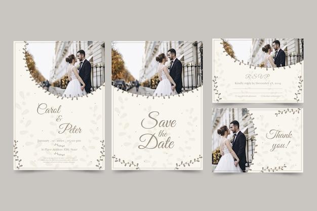 Ensemble d'invitation de mariage moderne avec couple