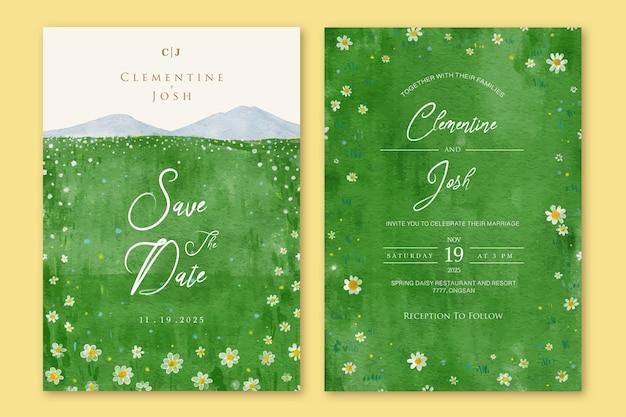 Ensemble d'invitation de mariage avec paysage de fond de champs de fleurs de marguerite de printemps aquarelle dessinés à la main