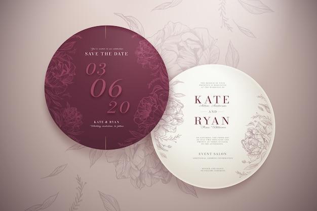 Ensemble d'invitation de mariage rond élégant