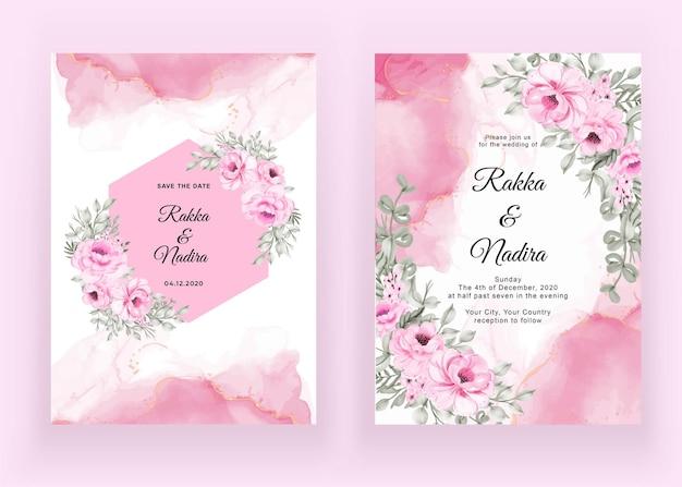 Ensemble d'invitation de mariage de rose rose