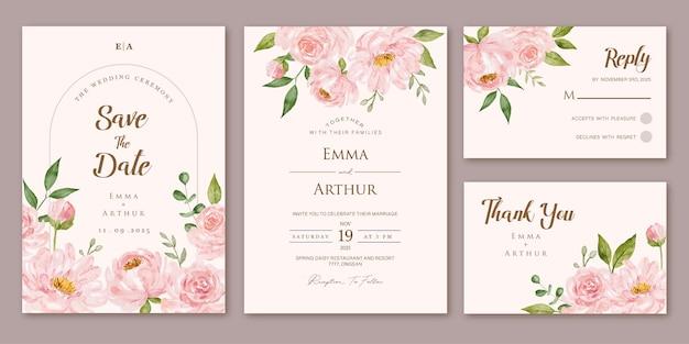 Ensemble d'invitation de mariage avec des roses roses aquarelles florales