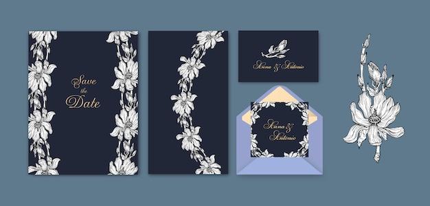 Ensemble d'invitations avec des fleurs de magnolia