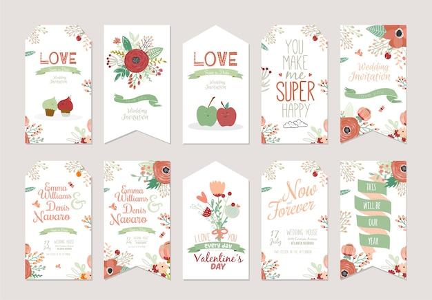 Ensemble d'invitations florales save the date. modèle de carte de mariage avec manuscrite décorative