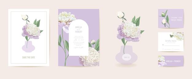 Ensemble d'invitations de mariage art déco minimaliste moderne. modèle de carte de fleur de pivoine boho. affiche de fleurs pastel de printemps, cadre floral. save the date design tendance, brochure de luxe