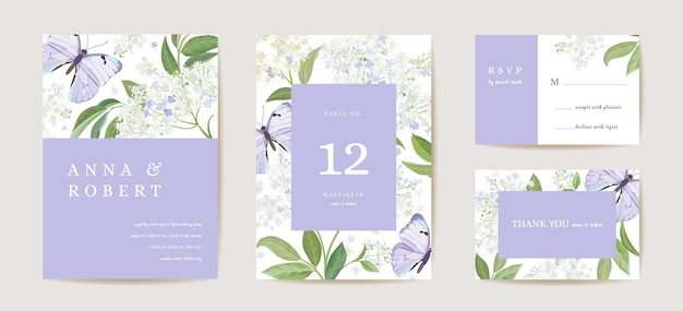 Ensemble d'invitations de mariage art déco minimaliste moderne. modèle de carte de fleur de sureau et papillon blanc boho. affiche de fleurs de printemps, cadre floral. save the date design tendance, brochure de luxe