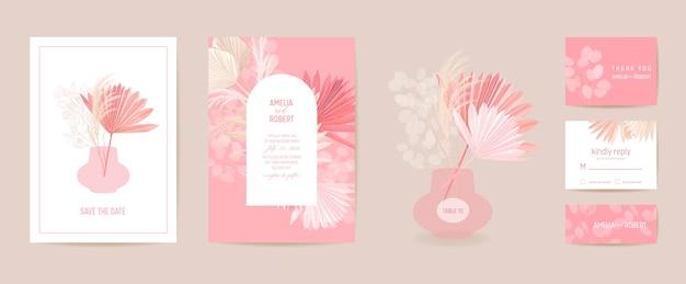 Ensemble d'invitations de mariage art déco minimaliste moderne. orchidée boho, herbe de la pampa, modèle de carte lunaria. fleurs tropicales, affiche de feuilles de palmier, cadre floral. save the date design tendance, brochure de luxe