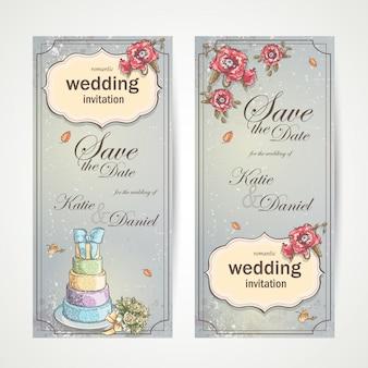 Ensemble d'invitations de mariage de bannières verticales avec des coquelicots rouges, un gâteau et un bouquet de roses